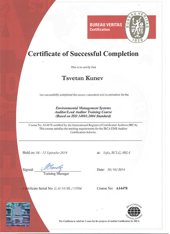 Irca iso 90012008 lead auditor certificate.